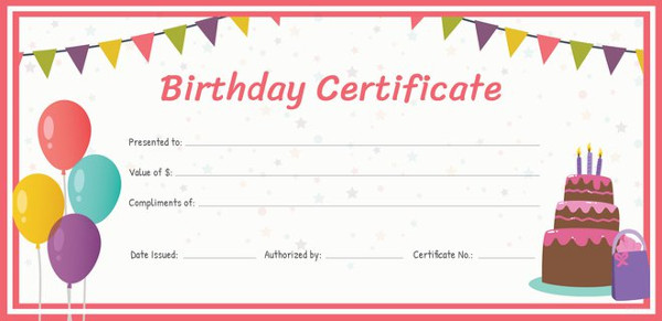 birthday gift card template.