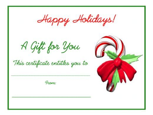 Free Holiday Gift Certificates Templates to Print.