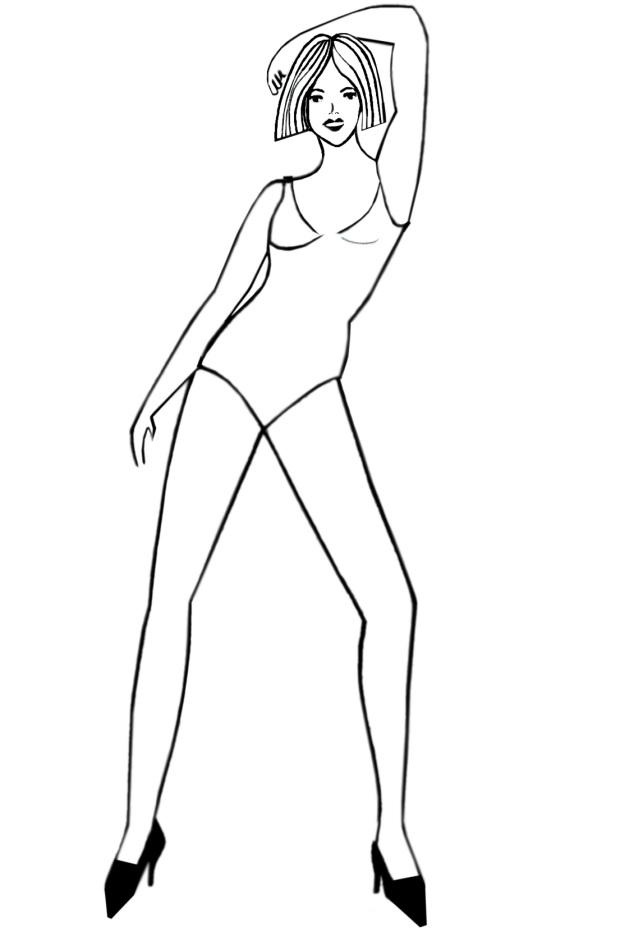 Anime Girl Body Outline.