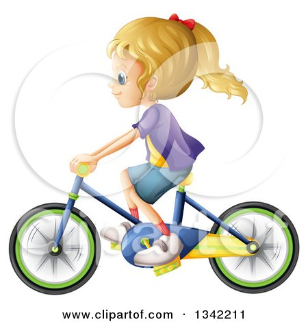 Clipart of a Girl Riding on the Back of a Boy's Bike.