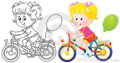 Girl Riding A Bicycle Royalty Free Stock Images.