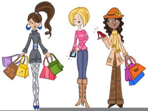 Girlfriends Shopping Clipart.