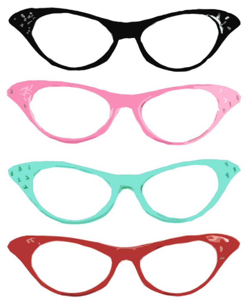 the many colors of cat eye glasses.