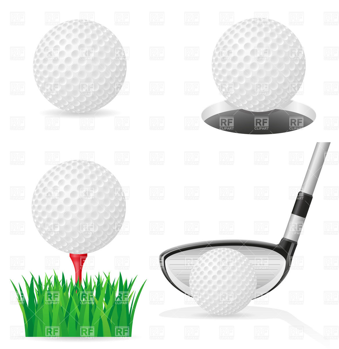 Golf ball on tee and golf club Stock Vector Image.
