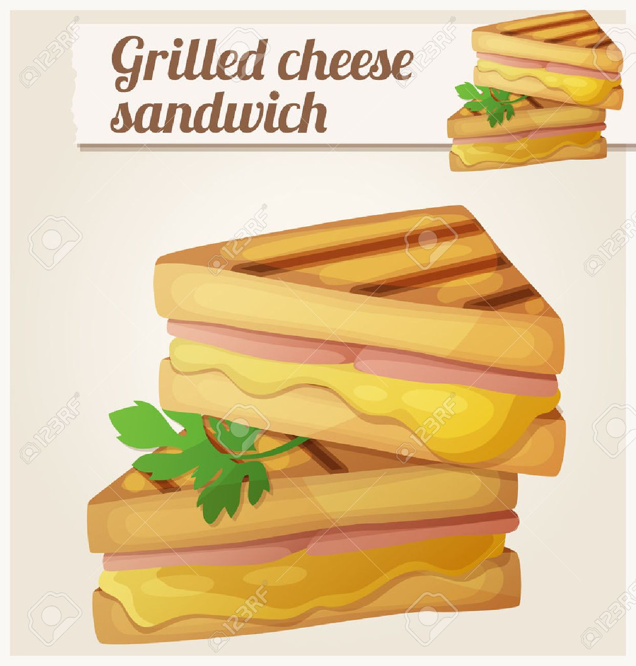 Grilled cheese sandwich. Detailed vector icon. Series of food...