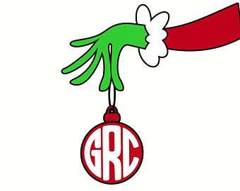 Grinch Monogram, Christmas, SVG, DXF, Vector Files for Cricut.