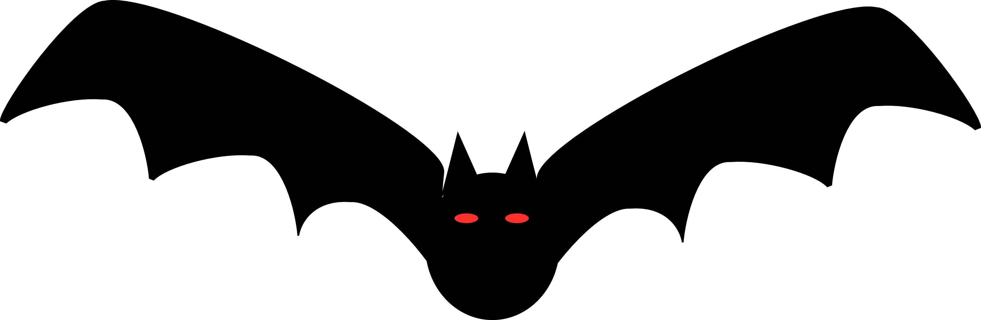 Free Halloween Clipart Illustration Of Black Bat With Red.