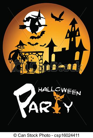 Vector Clip Art of Halloween Party Graphic with Scared.
