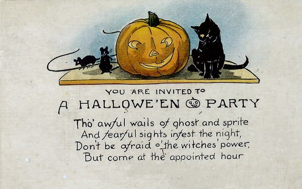 Vintage Halloween Party Clipart.