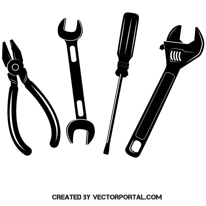 Hand tools vector graphics.