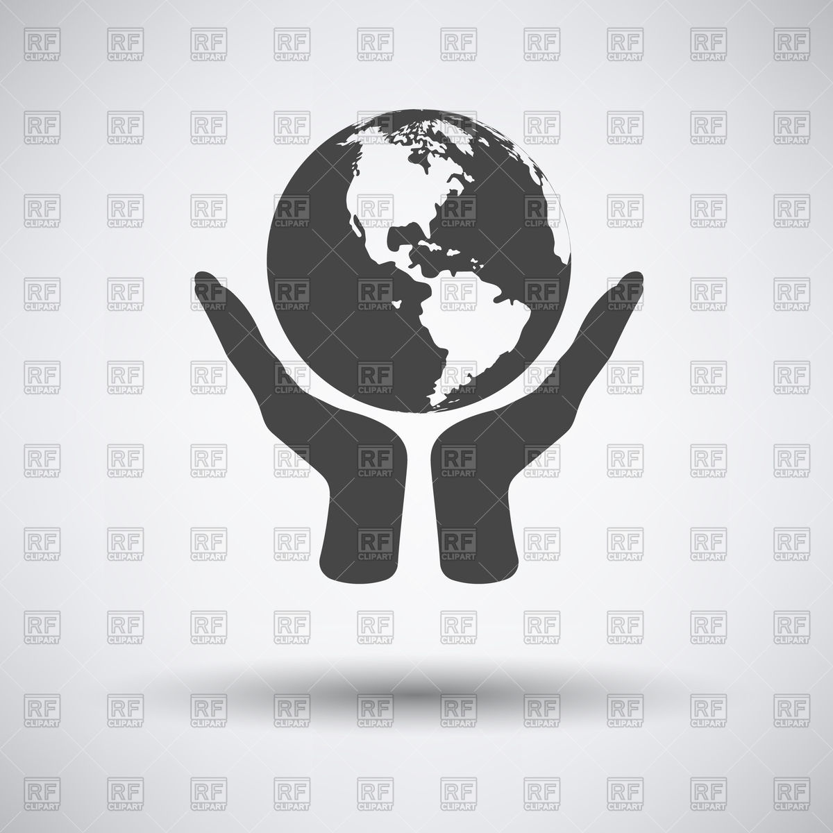 Hands hold world globe Vector Image #114483.