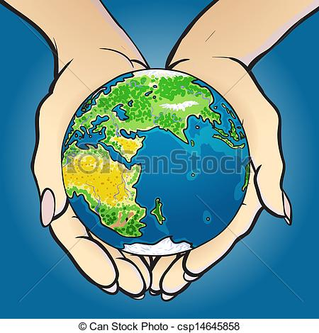 Clipart Vector of Hands giving and holding globe.