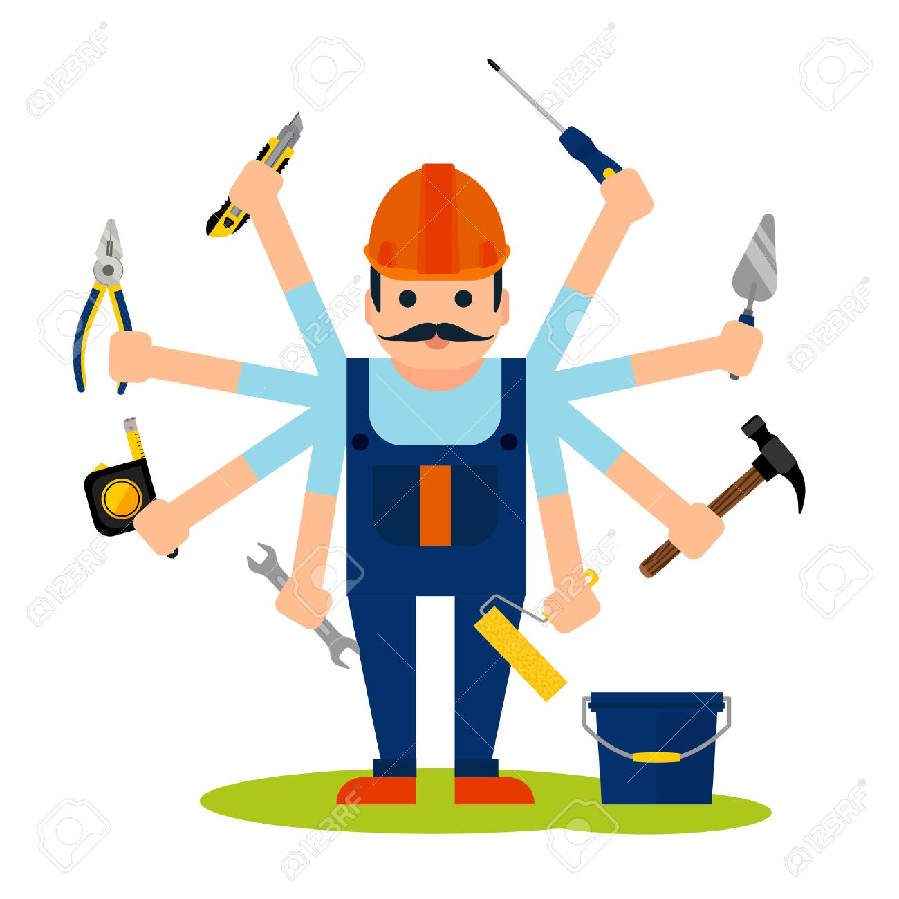 Flat style concept of handyman worker with 8 hands and tools...