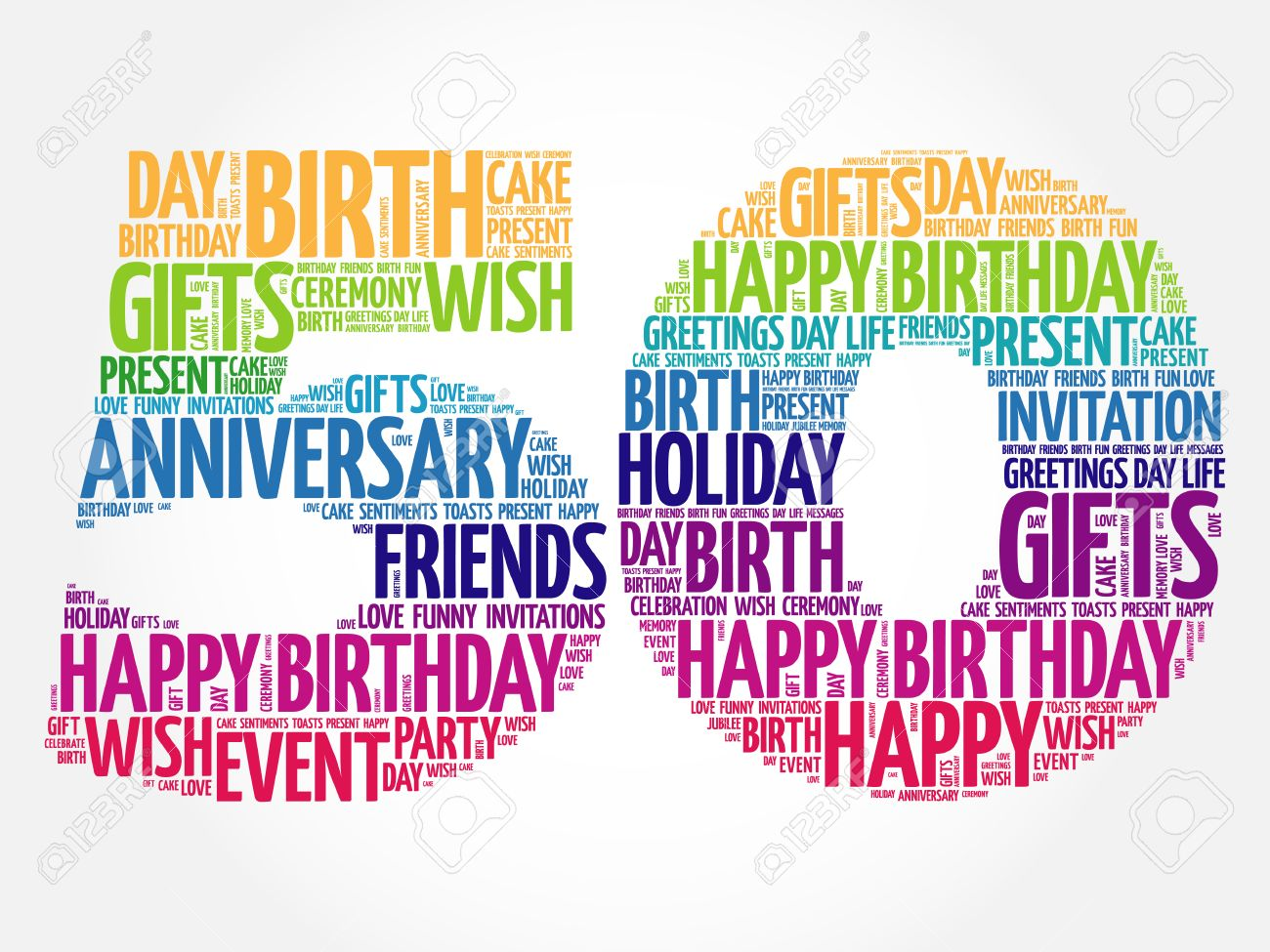 Happy 50th birthday word cloud collage concept.
