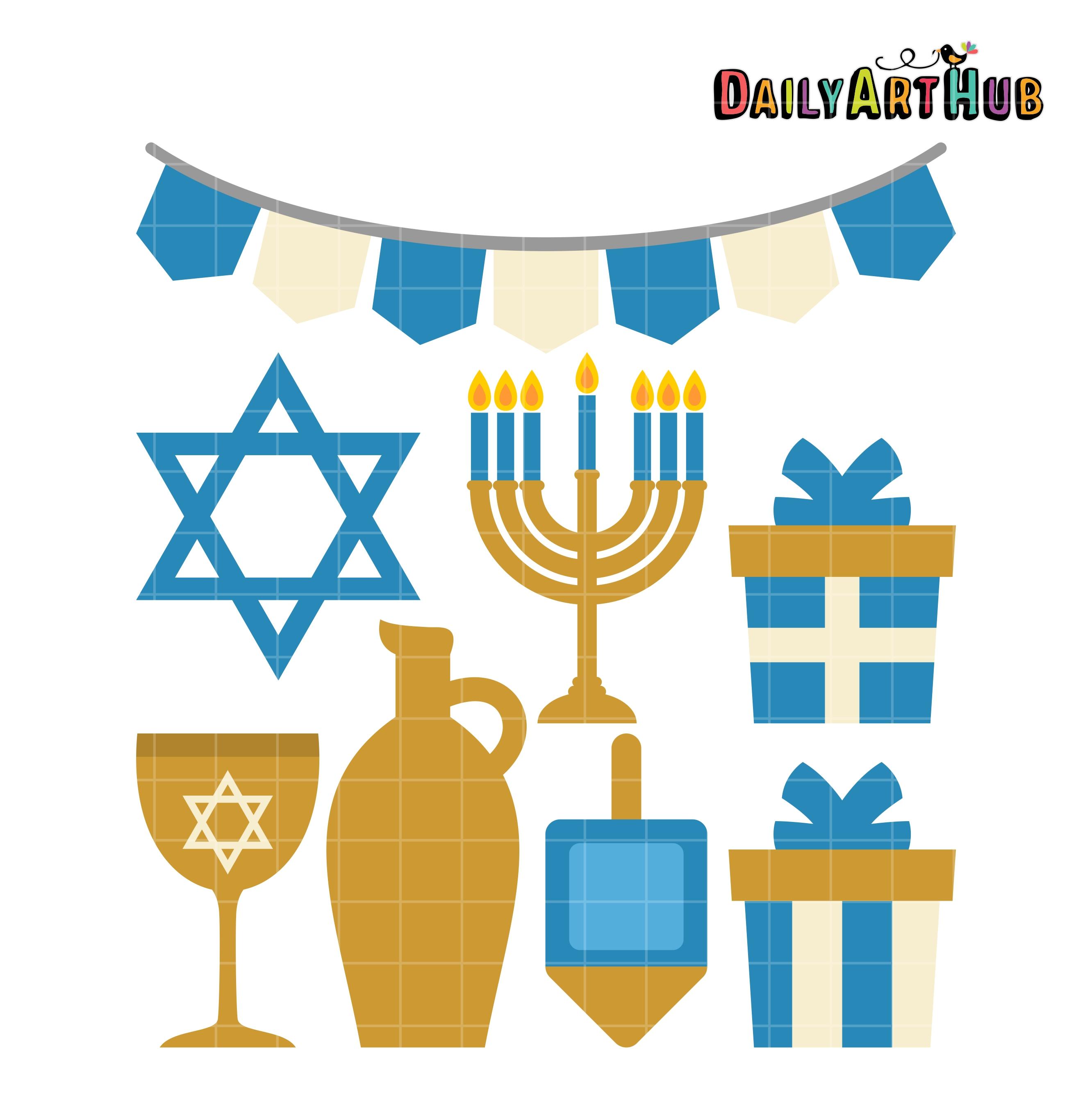 Happy Hanukkah Clip Art Set.