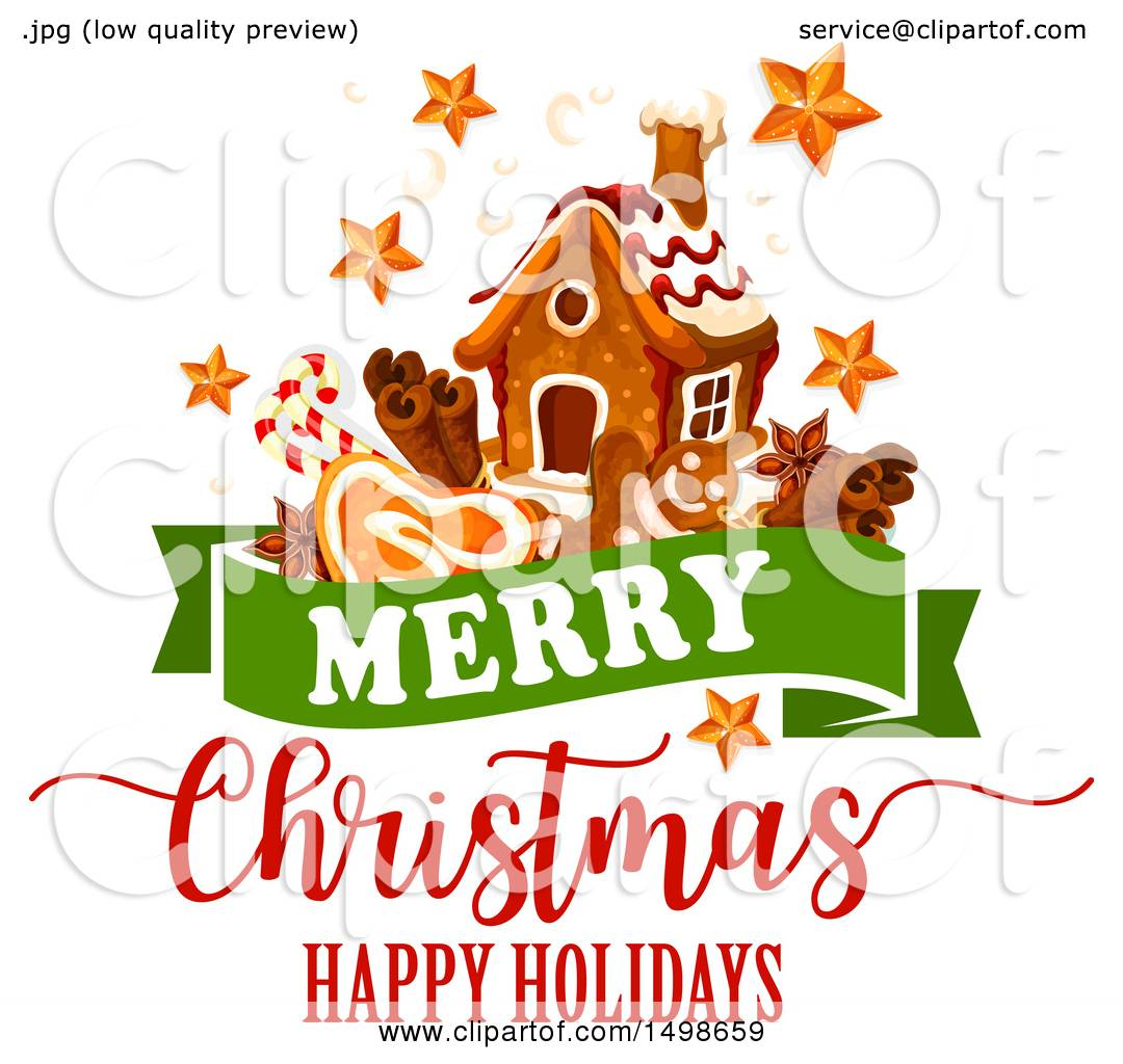 Clipart of a Merry Christmas Happy Holidays Greeting with a.