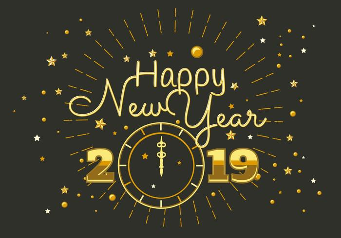 Happy New Year 2018 Typography Vector.
