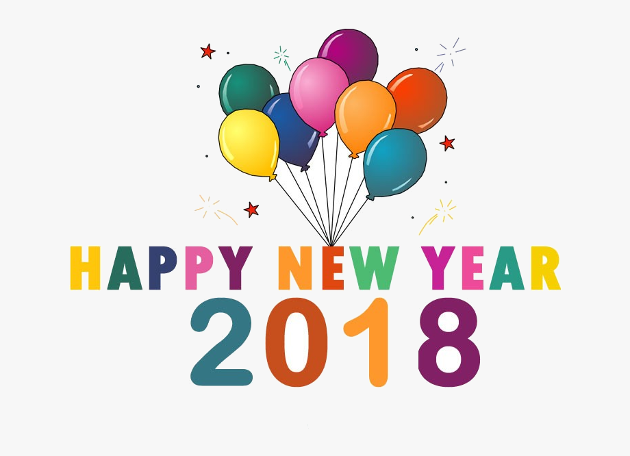 Happy New Year 2018 Free Clip Art , Transparent Cartoon.