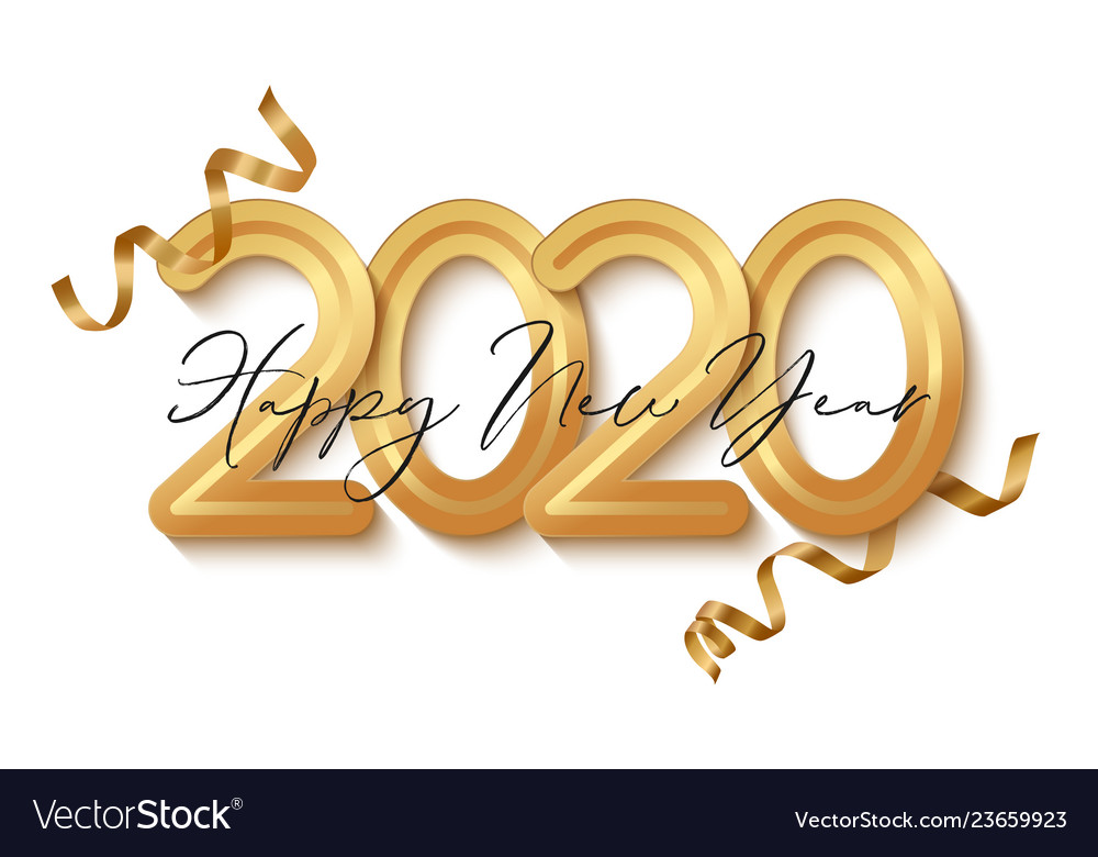 Happy new year banner with gold 2020 numbers.