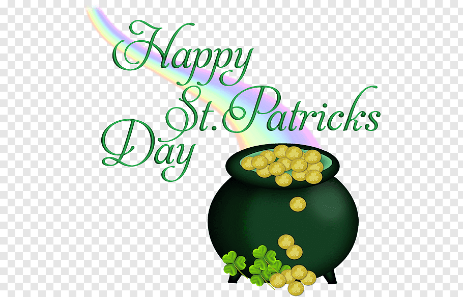 Pot of coin, Saint Patrick\'s Day Shamrock, Happy St Patrick.