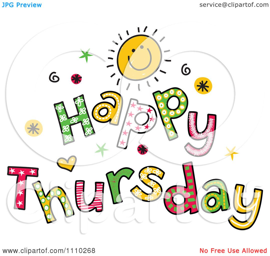 Clipart Colorful Sketched Happy Thursday Text.