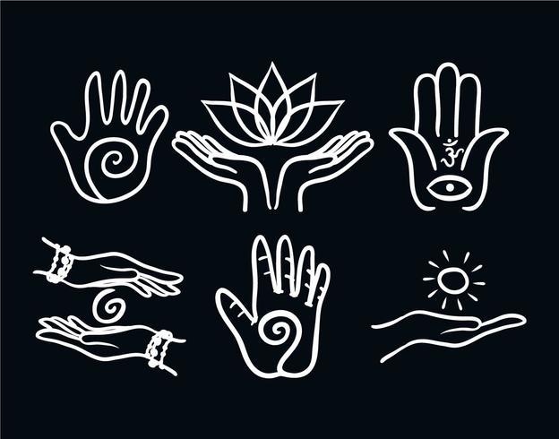 Healing hand vector set.