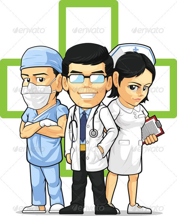 A vector set of medical/healthcare workers : doctor, nurse.