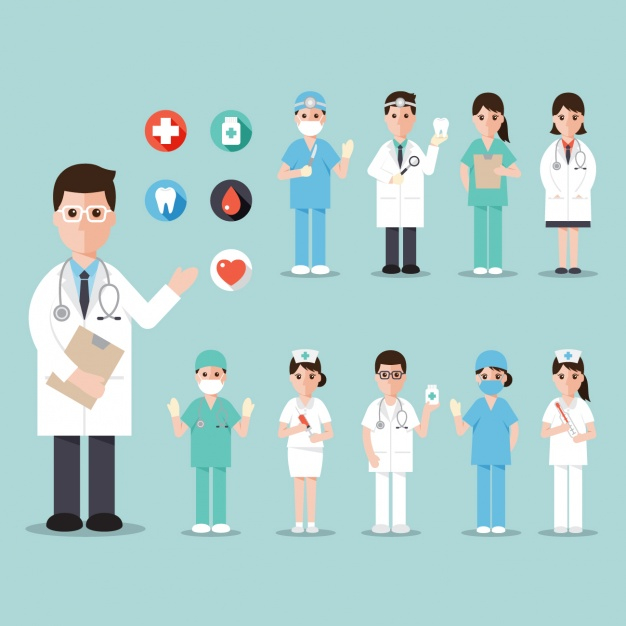Hospital workers Free Vector.