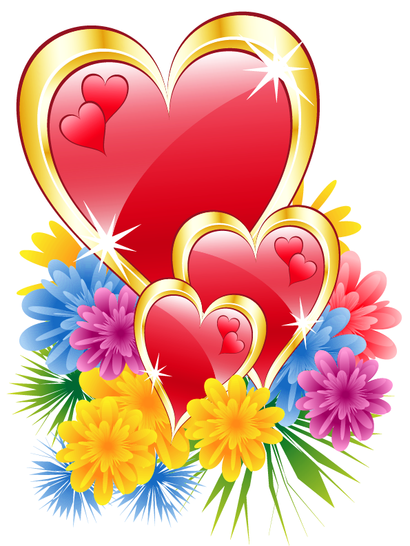 Valentine Hearts with Flowers PNG Clipart Picture.