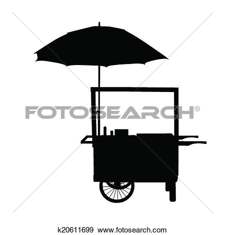 Clip Art of hot dog trolley wheel with umbrella silhouette.