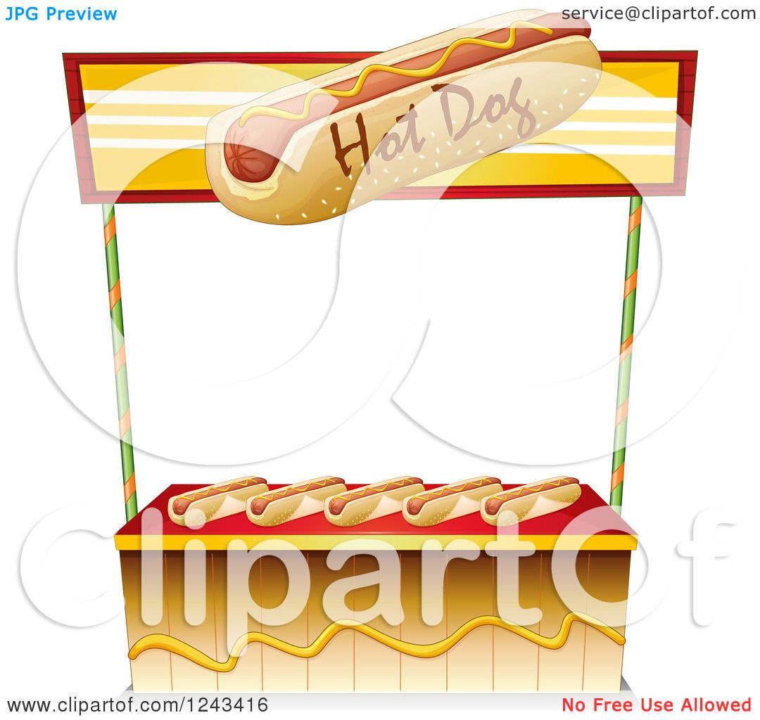 Clipart of a Hot Dog Vendor Stand.