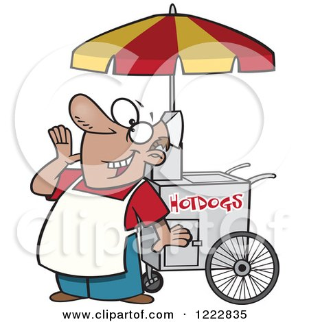 Clipart of a White Man Driving a Hot Dog Food Vendor Truck in a.