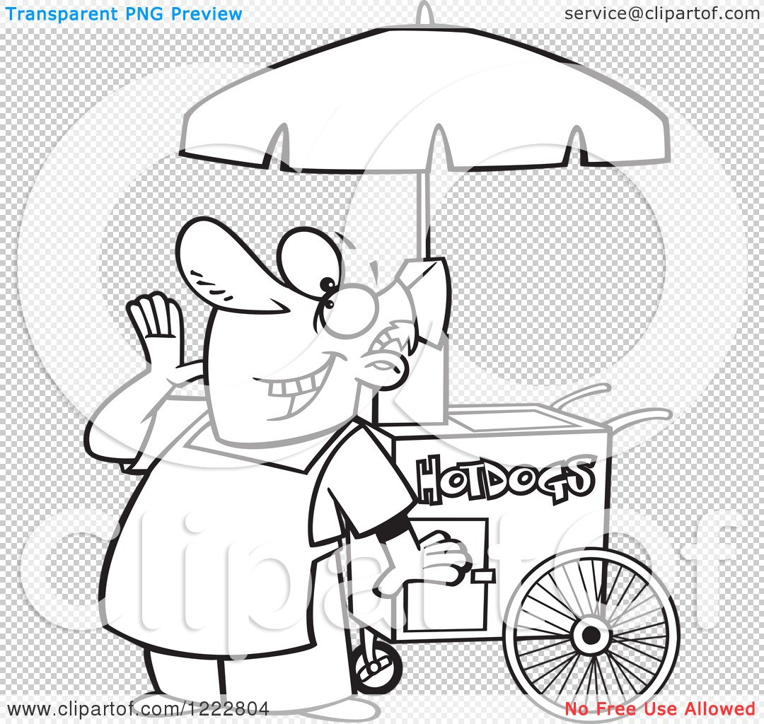 Clipart of a Black and White Happy Shouting Hot Dog Vendor Man.