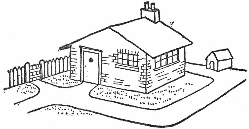 free clipart house and yard black and white - Clipground