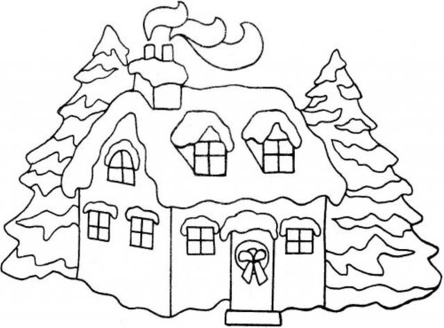 Christmas House With Snow Art.