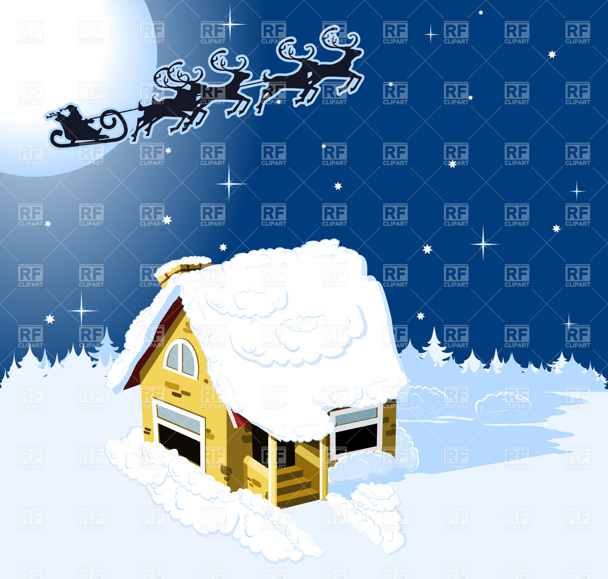 House in snow on the Christmas background Vector Image #4627.