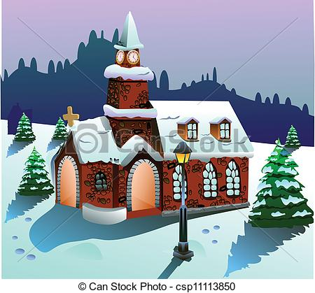 Clipart Vector of house on snow vector.