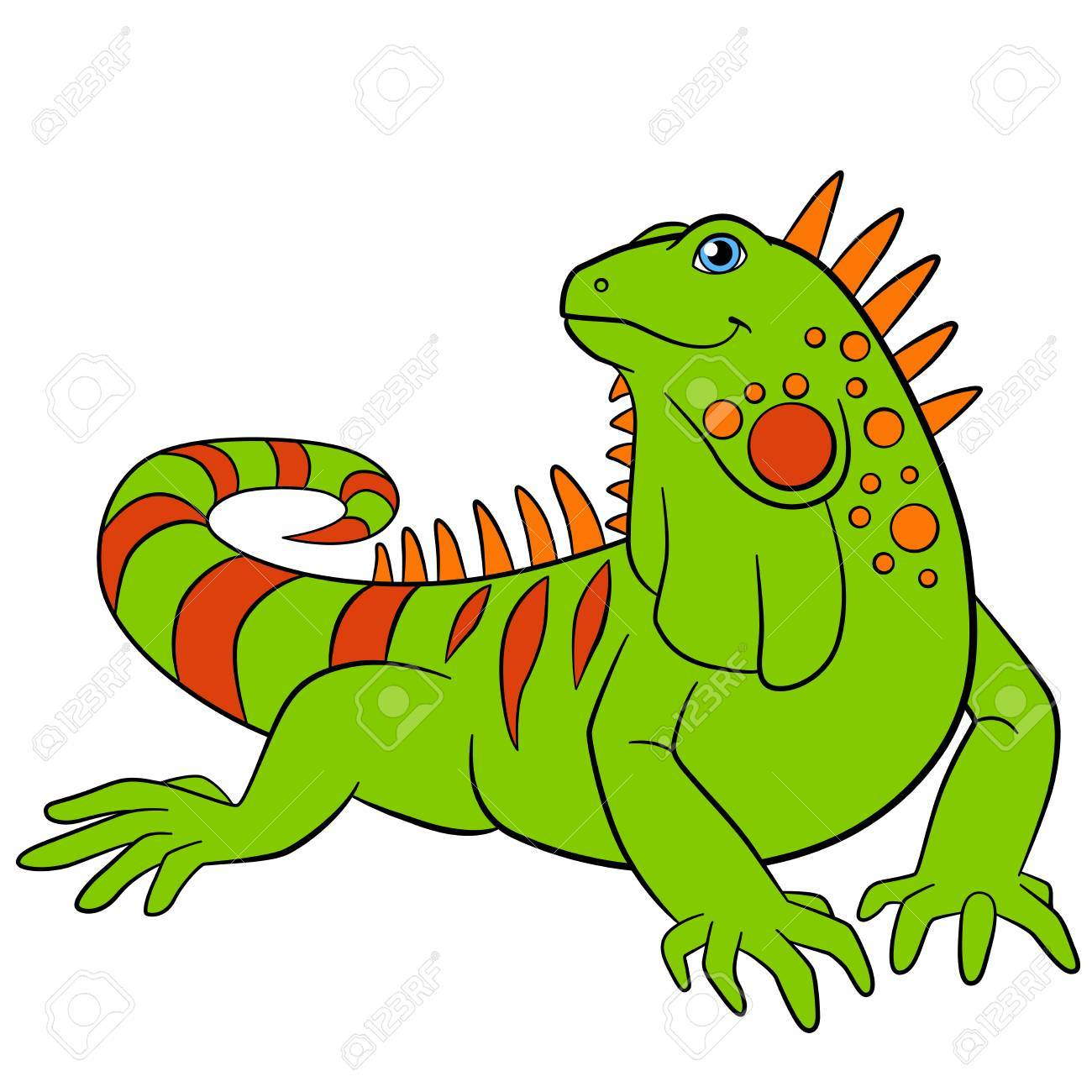 Cartoon animals. Cute green iguana sits and smiles..