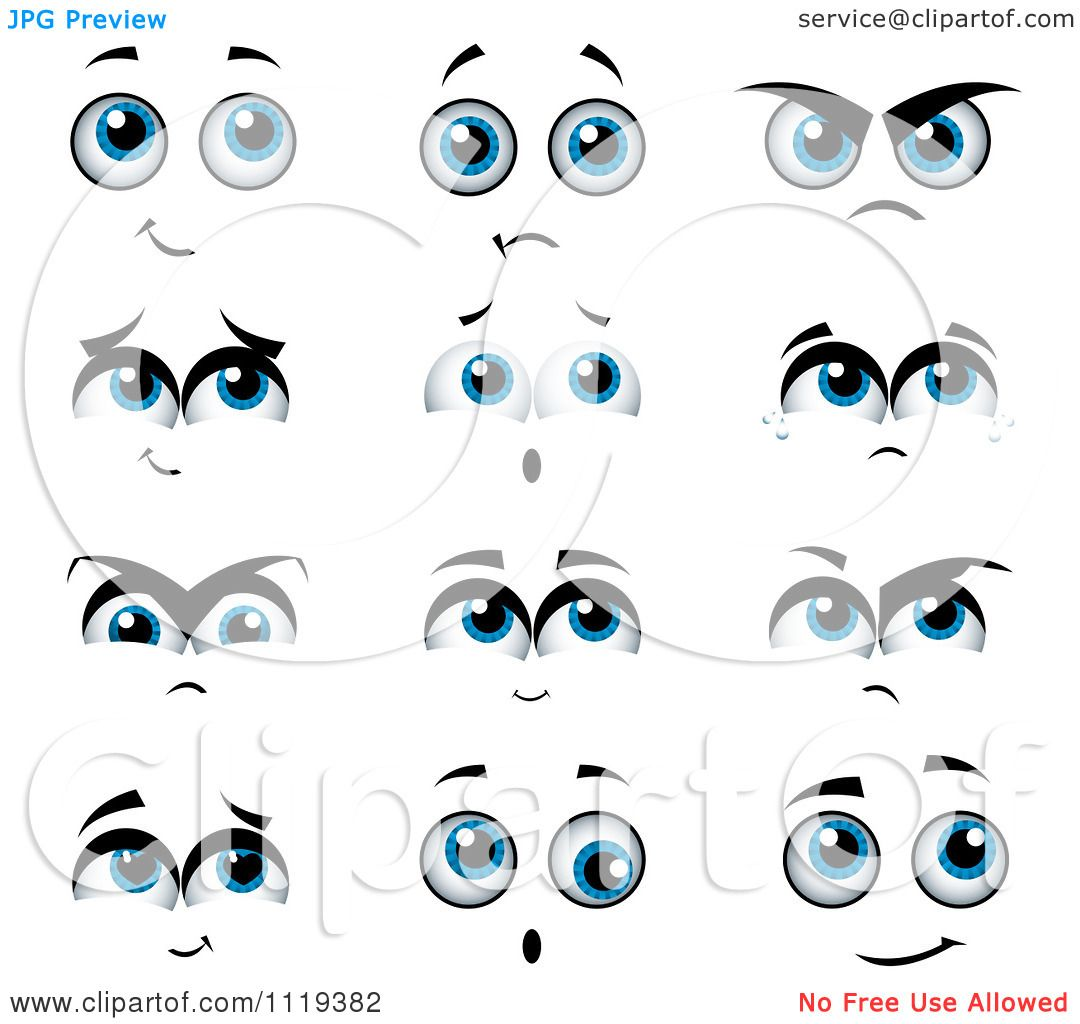 Cartoon Of Expressional Blue Eyes.