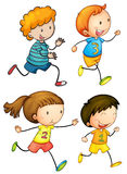 Cartoon Children Running Race Stock Illustrations.