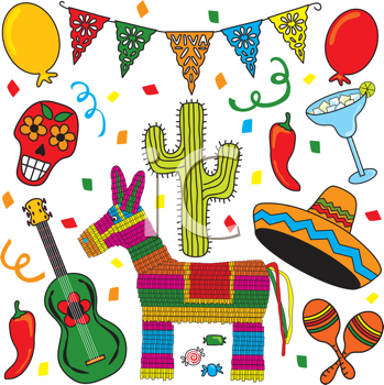 Royalty Free Clipart Image of Mexican Images.