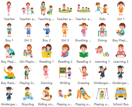 Vector Kindergarten Life Clipart and Examples.