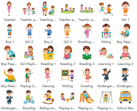 Vector Kindergarten Life Clipart and Examples.