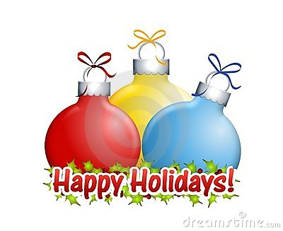 Happy Holidays Ornaments Royalty Free Stock Images.