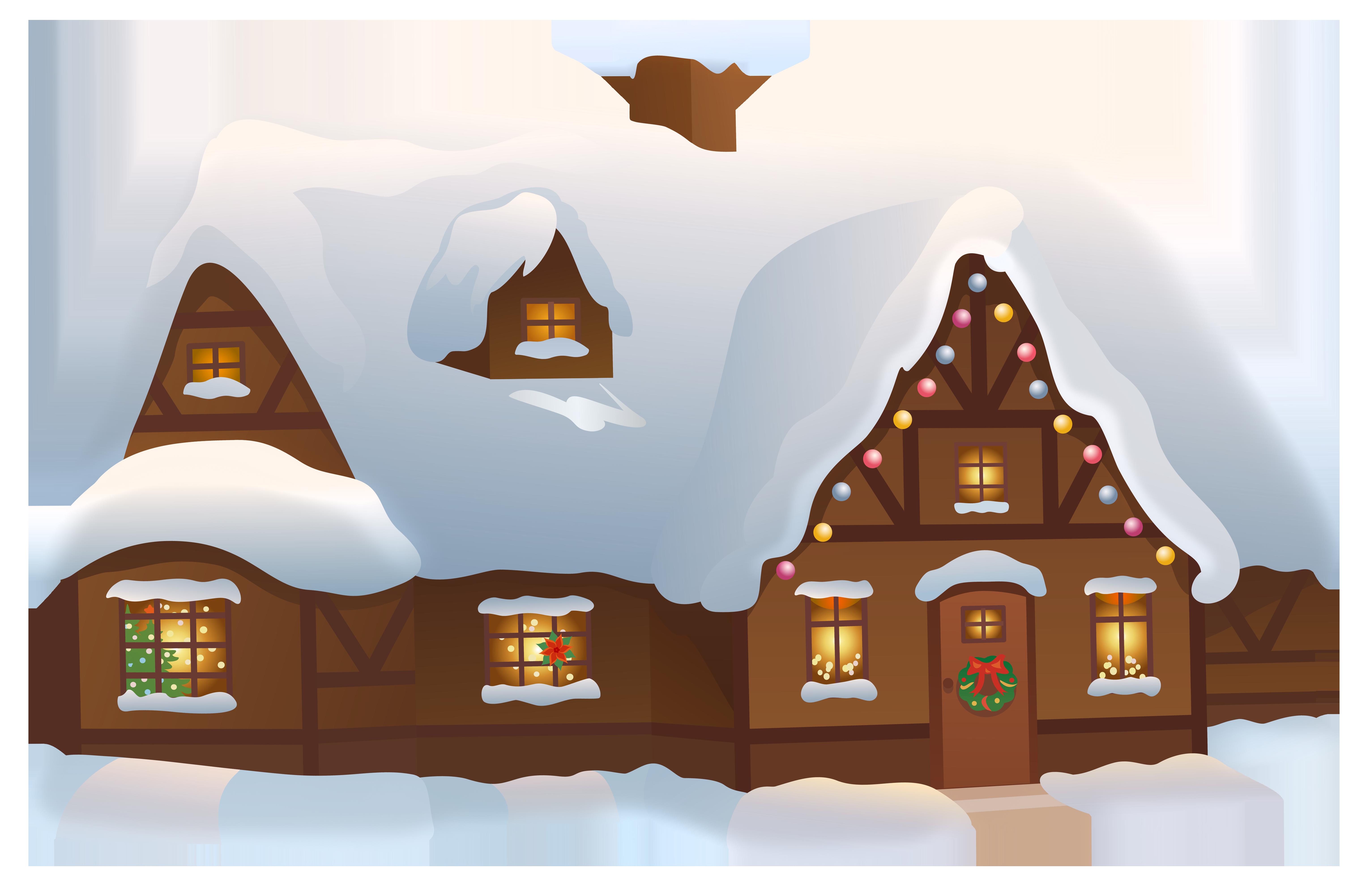 Christmas House Transparent PNG Clip Art Image.