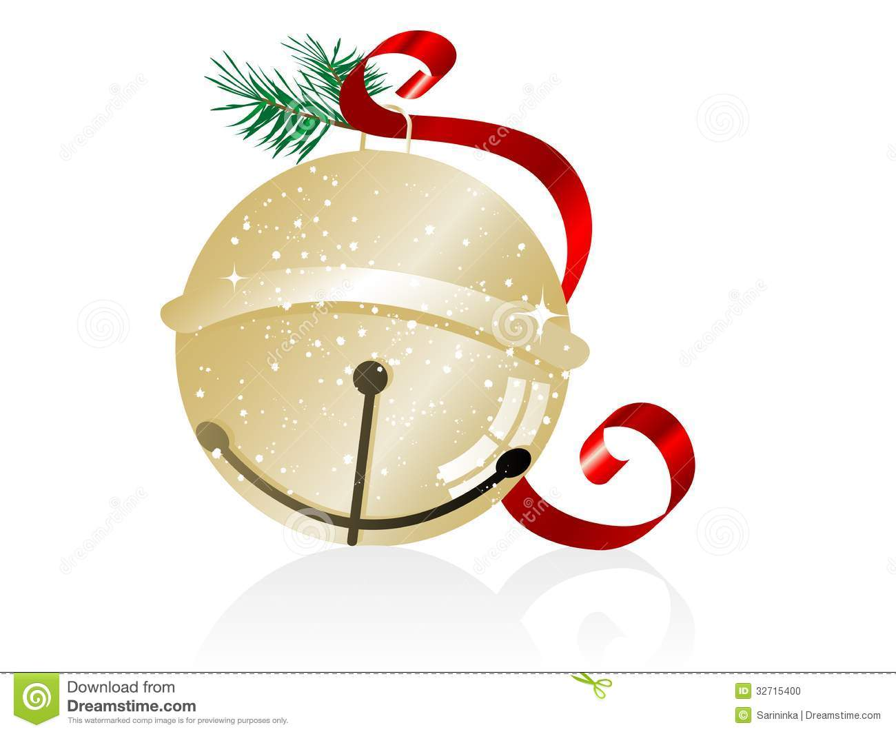 Jingle Bell Clipart Silver.