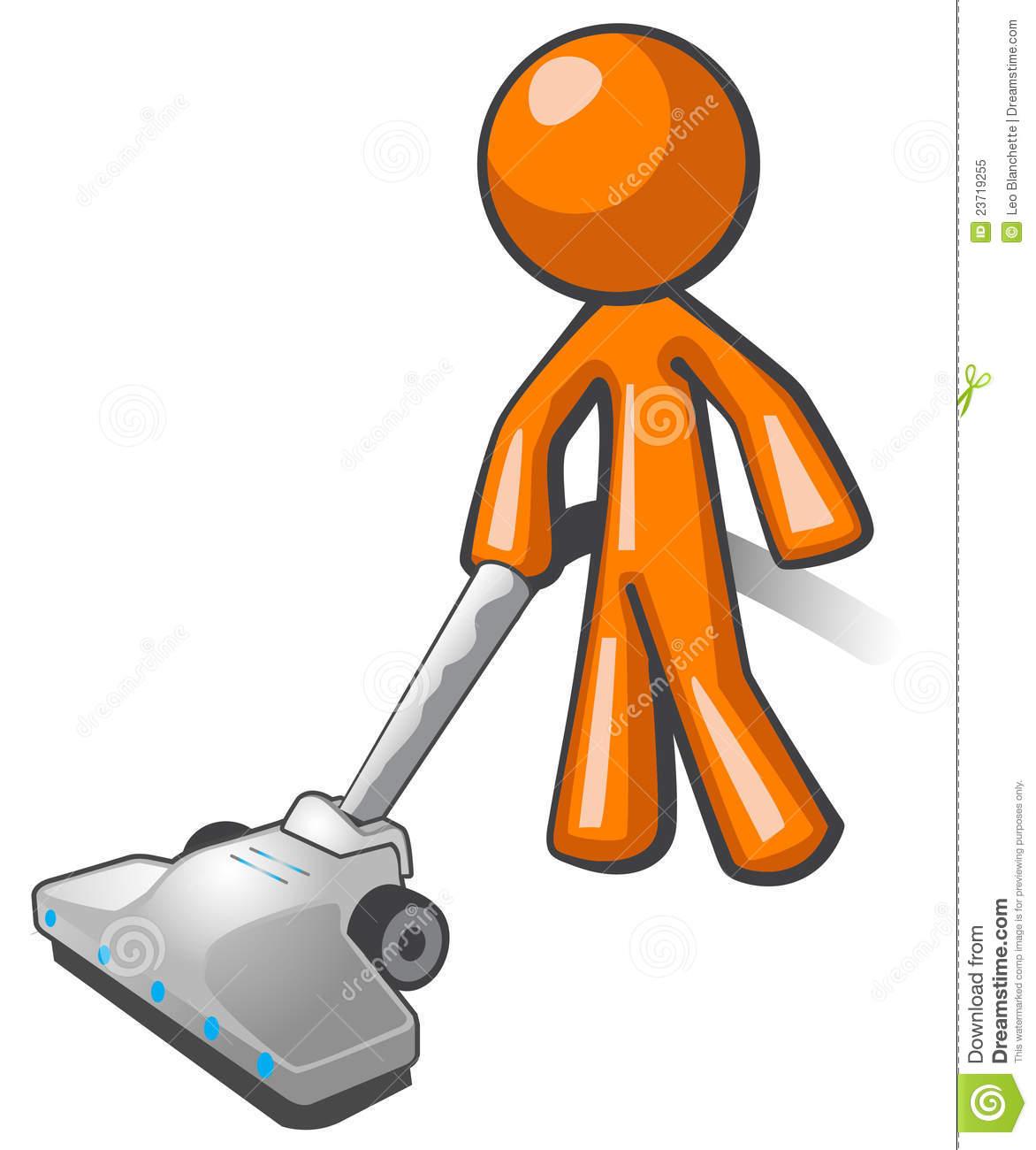 Orange Man Vacuuming Royalty Free Stock Photo.