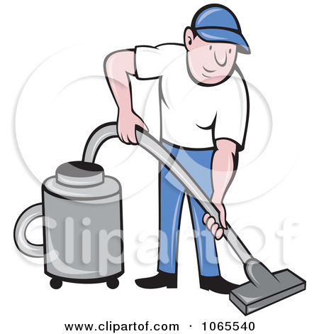 Clipart Man Using A Canister Vacuum.