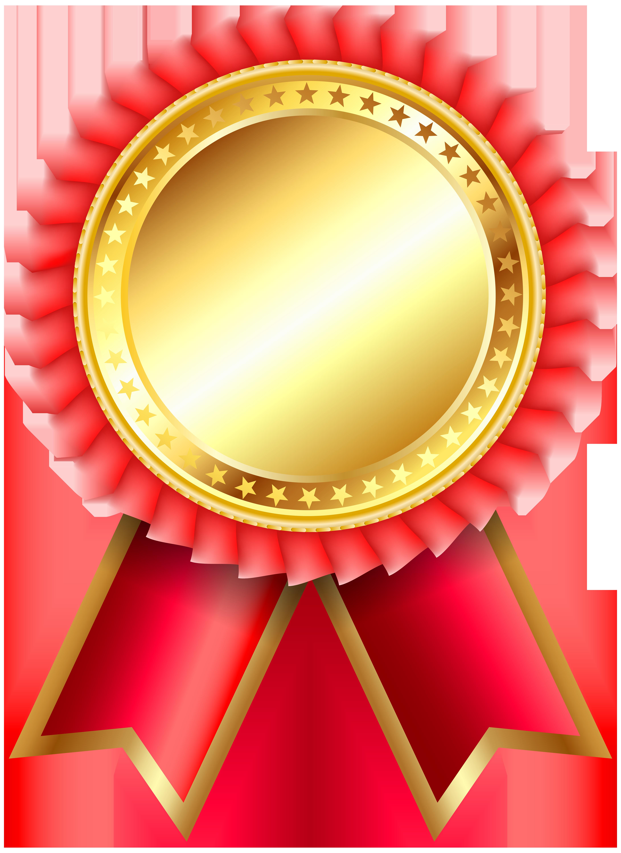 Red Award Rosette PNG Clipar Image.