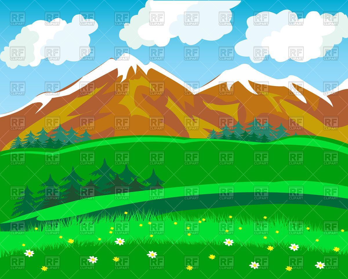 Summer in mountains Stock Vector Image.